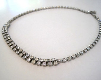 Vintage 1950s Crystal Rhinestone Necklace - Short Choker Stye Double Row Crystals - Mad Men Mid Century