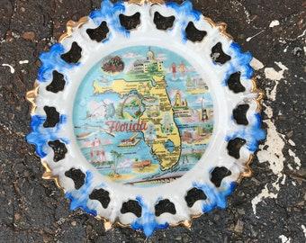 Florida collectible souvenir plate vintage state wall hanger home decor