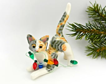 Cat Calico Tabby Porcelain Christmas Ornament Figurine Lights