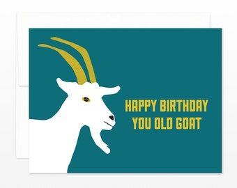 Goat birthday card etsy funny old birthday card you old goat happy birthday greeting card for friend bookmarktalkfo Image collections