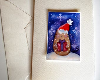 Greeting Card Christmas Cat Snow