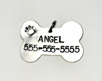 Pet ID Tag - Dog Bone Pet ID Tag - Dog Tag ID - Pet tag - Hand Stamped - Personalized