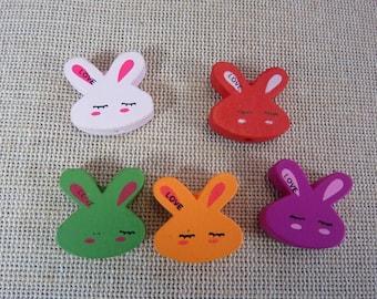 10pcs, Bunny, wood beads, pearls, inscription LOVE, set of 10 beads, wood 20mm, red pink orange green bunnies, rabbits, kawaii