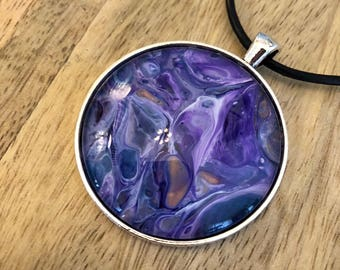 Beautiful Purple Hand Painted Pendant Necklace, Wearable Art, Jewelry, Circle, Gifts for Her