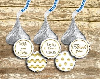 Hershey Kiss Stickers Wedding, Hershey Kiss Stickers, Gold Wedding Stickers, Kisses Labels, White and Gold Wedding, Kisses Stickers