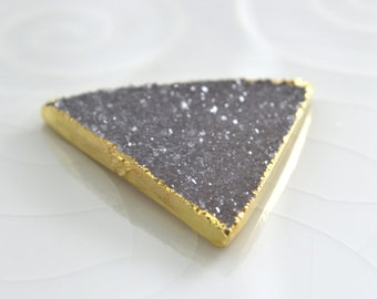 LARGE Druzy Triangle Pendant, Druzy Pendant, Electroplated, Gold Edged, Double Bailed