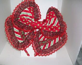 Kawaii Christmas Dots and stripes, Japanese Lolita Style Hair Bow.with ribbon detail
