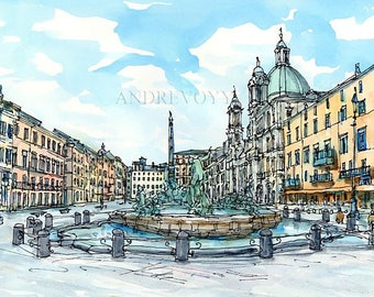 Rome Piazza Navona  Italy art print from an original watercolor painting