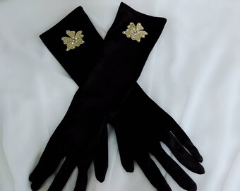 Black satin bridal gloves, Rhinestone gloves, Gold flower wedding gloves, Long gloves, Evening gloves, Elbow length gloves,Bridesmaid gloves