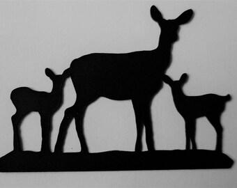 Die Cut Silhouette Mother Deer and 2 Babies x 9 in Black