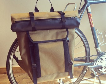 Bicycle Pannier/Backpack with Roll top and Buckle Flap Option - Large Overload Capacity - Cycling Bag