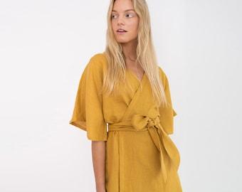 MARY Linen Wrap Dress / Linen Kimono Wrap Dress