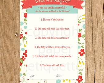 INSTANT UPLOAD - Baby Shower Games Vintage Floral, Baby Shower Game, Girl Baby Shower Game, Red Floral Baby Shower Game, What Will Baby Be