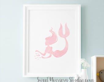 Mermaid Decor, Mermaid Nursery, Mermaid Nursery Decor, Pink Wall Art Print Decoration Printable Mermaid Gift Pastel Pink Wall Art