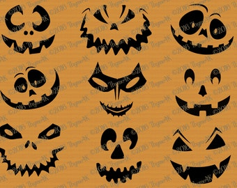 "SVG Halloween ""Pumpkin Faces"" mix and match! Includes svg, png, jpeg, dxf, & eps formats. Use as Faces, Carving template, window decals, etc"