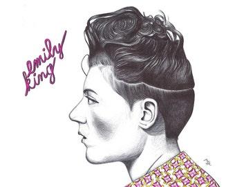 Emily King portrait pen drawing