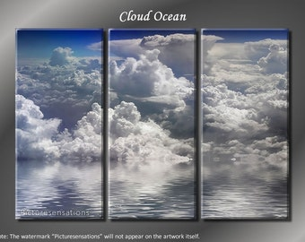 Framed Huge 3 Panel Modern Art Sky Ocean Clouds Giclee Canvas Print - Ready to Hang