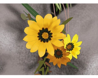 Flower Greeting Card, Blank, Gazanias Design No A6042
