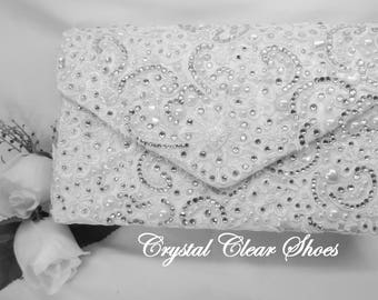 Lace Covered Embellished Pearl & Crystal Clutch Bag.