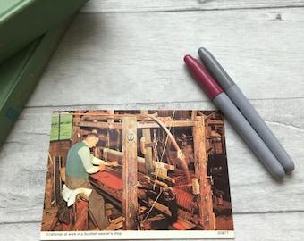 Vintage Scottish postcard, traditional crafts, weaving photo, Scotland vintage postcard, unused postcard, post crossing, post swap etsy uk