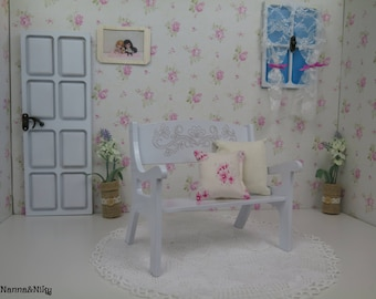 Panchina bianca in legno per Blythe doll