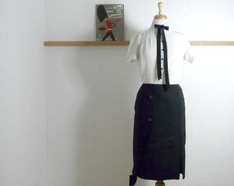 Size L - Jacket Pencil Skirt in Black Tuxedo - Upcycled