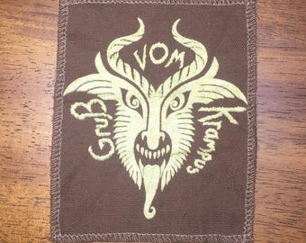 Krampus patch gold on brown