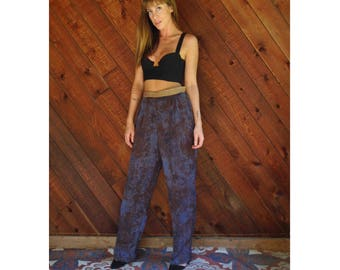 Vtg Marble Print High Waist Trouser Pants with Gold Band - 80s - S/M