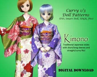 Kimono traditional Japanese dress sewing clothes pattern for Curvy 1/3 60cm BJD: SD, SDGR, Dollfie Dream, Smart Doll, dd