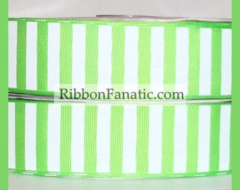 """5 yds 1.5"""" Lime Green and White Candy Stripe Grosgrain Ribbon"""