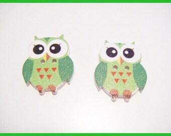 2 buttons wooden OWL - Green ♥ ♥