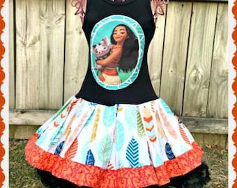 girls Moana dress 3T 5T 4/5 6/6X 7/8 10/12 14/16 ready to ship