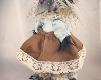 Little Bits of Woe OOAK fine art doll: Polish Hen (chicken) with sky-blue flowered blouse and brown and ivory lace party frock