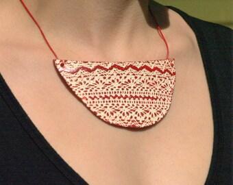 Unique Collar Necklace/ Original Necklace/ Unique Red Necklace/ Lace Necklace/ Distinctive Necklace/ Vintage Necklace