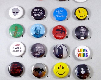 One inch pinback buttons / game of thrones / watchmen / batman and more!