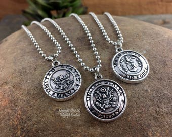 US Army, US Navy, US Air Force Necklace, Military Necklace, Military Jewelry, Stainless Steel Chain, Custom Necklace, Soldier Necklace