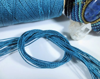 Blue Petrol Waxed Polyester Cord 25ft pack  = 8.33 yards = 7,6 meters Linhasita Thread Brand #228