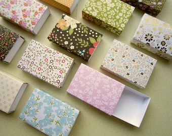 Assorted floral patterns matchbox size boxes/ Slide box/ Jewelry Packaging Boxes/ Gift box/ Packaging box/ blooming flowers/ Set of 12
