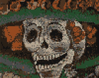 Skeleton lady dressed up for the Day of the Dead portrait counted Cross Stitch Pattern