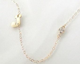 Your Initial, 14K Gold Sideways Initial Necklace With CZ, Cubic Zirconia - Celebrity Jewelry
