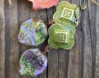 Green Purple Earrings Bohemian Artisan Earrings Handcrafted Gypsy Jewelry