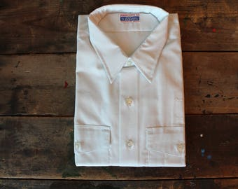 Vintage 60's Button up | NOS | Dead Stock | Elbeco | Sanforized |100% Combed Cotton| Size Large | Made in USA