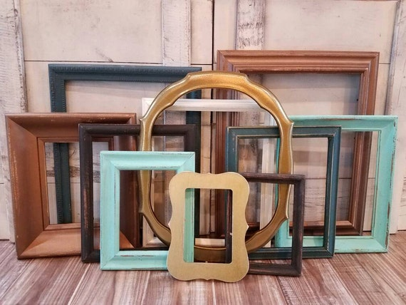 Gallery Wall Frame Set Copper/ Teal/ Gold/ Distressed Frames /Open Frames / Wall Collage Photo Frame Set/ Picture Frames/ Wall Decor/ Custom From ...