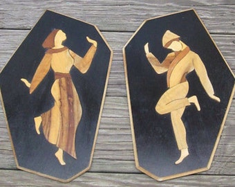 Vintage Lacquer Wooden Israeli Plaques