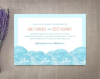 Beach Engagement Invitations Ocean Waves