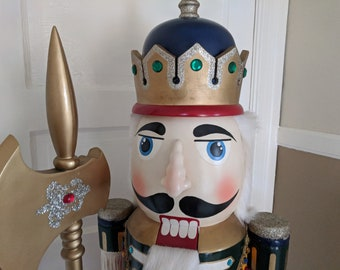 """Life-Size Nutcracker 5 Feet Tall Working Nut Cracker Wooden Ornate Hand Painted Soldier Ultimate Mother's Day Gift 60"""" Guard With Battle Axe"""