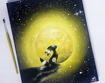 Umbreon under the moon, acrylic painting , Pokemon painting, eeveelutions Pokemon art, umbreon art