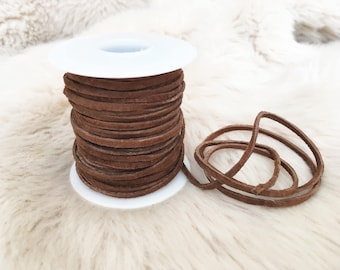 Brown suede leather lace. Suede for long tie choker.  Skinny  suede. Suede for chokers. Jewellery making. Uk crafts supplier