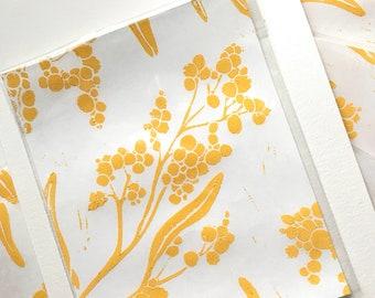 Golden Wattle Flower Mini Card Lino Print