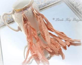Peachy Pink Shabby Boho Tassel Earrings Cream Silk Dangle Lightweight Earrings Copper Flowers Hooks